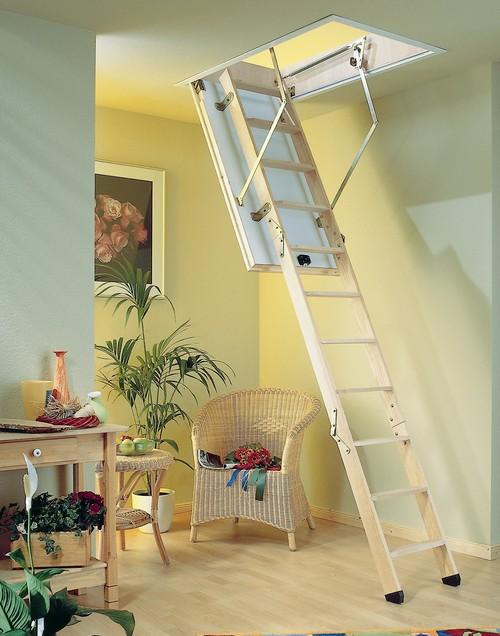 Лестница на чердак в интерьере