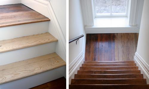 Лестница до и после реставрации