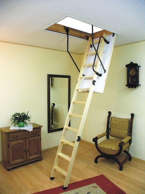 Выдвижная лестница в классическом интерьере